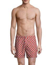 Onia Men's Calder Floral Swim Trunks - Sea Blue - Size 34