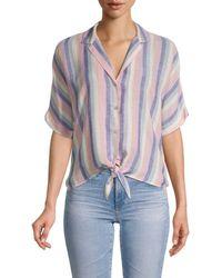 Rails Marley Stripe Tie-front Camp Shirt - Blue