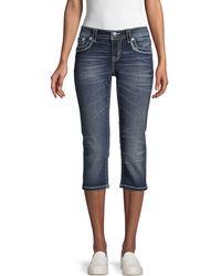 Miss Me Whiskered Capri Jeans - Blue