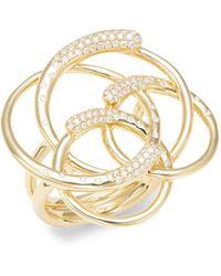 Ippolita Stardust 18k Yellow Gold & Diamond Interlocking Ring - Metallic