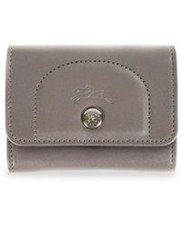 Longchamp Leather Snap Card Holder - Grey
