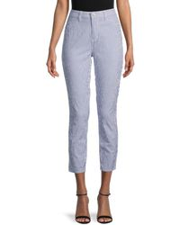 L'Agence L?agence Mandy High-rise Seersucker Skinny Trousers - Blue