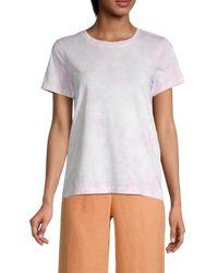 525 America Women's Tie-dye Cotton Tee - Peach Haze - Size S - White