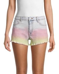 Vigoss Tie-dye Acid-wash Denim Shorts - Multicolour