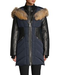 Nicole Benisti Courcheval Fox Fur & Leather-trim Down Coat - Blue