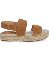 Splendid Aubrey Suede Espadrille Flatform Slingback Sandals - Brown