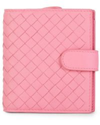 Bottega Veneta Intrecciato Leather Bi-fold Wallet - Pink