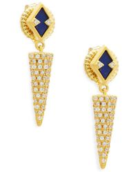 Freida Rothman - Indigo Armour Crystal, Lapis And Sterling Silver Drop Earrings - Lyst