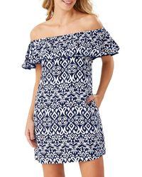 Tommy Bahama Ikat Diamond Off-the-shoulder Linen-blend Dress - Blue