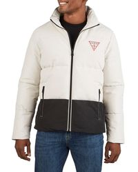 Guess Men's Heavy-weight Colorblock Puffer Jacket - Stone - Size L - Multicolour