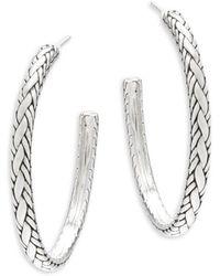 """John Hardy - Textured Sterling Silver Hoop Earrings/2"""" - Lyst"""
