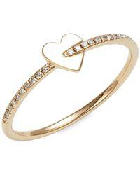 Saks Fifth Avenue 14k Yellow Gold & Diamond Heart Ring - Metallic