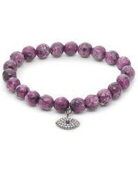 Bavna Women's Diamond Sapphire & Agate Sterling Silver Stretch Bracelet - Metallic