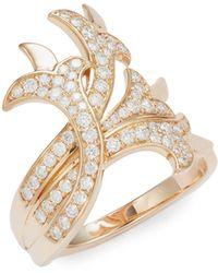 Sara Weinstock French Tulip 18k Rose Gold & Diamond Intertwining Ring - Metallic