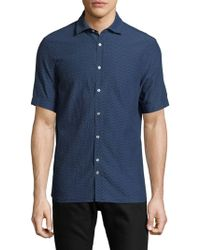 J.Lindeberg - Short-sleeve Cotton Button-down Shirt - Lyst