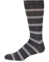 Saks Fifth Avenue Striped Crew Socks - Grey