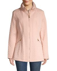 Karl Lagerfeld Women's Chevron Quilted Puff Down Jacket - Blush - Size L - Pink
