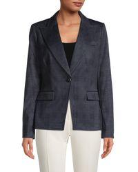 Tommy Hilfiger Women's Tonal Check Jacket - Indigo - Size 8 - Blue