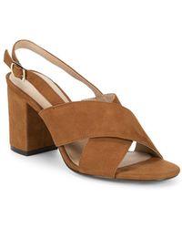 Pure Navy Suede Block Heel Sandals - Brown