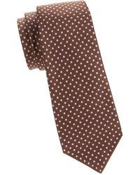 Kiton Pin Dot Silk Tie - Brown