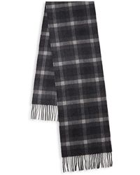 Saks Fifth Avenue Check Cashmere Scarf - Gray