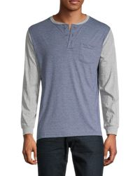 Unsimply Stitched Cotton Baseball Henley - Grey