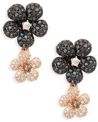 Effy - 14k Rose Gold, Diamond & Black Diamond Drop Earrings - Lyst
