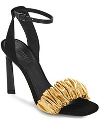 bf400ae3d82 MERCEDES CASTILLO - Ruched Leather Ankle-strap Sandals - Lyst