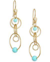 Ippolita Nova Mini 18k Yellow Gold, Gold Matrix Turquoise & Diamond Jet Set Earrings - Metallic