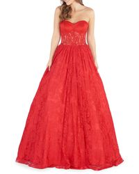 Mac Duggal Strapless Lace Ball Gown - Red