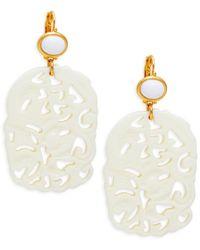 Kenneth Jay Lane Women's Resin Cut-out Drop Earrings - White