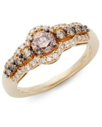 Le Vian Chocolatier® Chocolate Diamonds® And Vanilla Diamonds® 14k Honey Goldtm Ring/size 7 - Brown