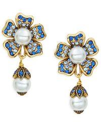 Heidi Daus Multicolored Crystal & Beaded Floral Drop Earrings - Blue