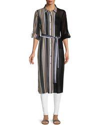 Calvin Klein Striped Long-sleeve Tunic - Black
