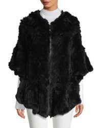 Belle Fare - Herringbone Rex Rabbit Fur Poncho - Lyst