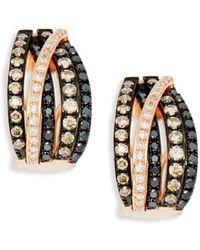 Effy - 14k Rose Gold, Black, Brown & White Diamond Earrings - Lyst