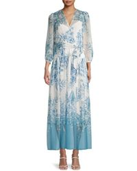 Calvin Klein Women's Floral Maxi Dress - Mykonos - Size 6 - Blue