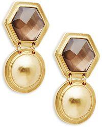 Stephanie Kantis 24k Goldplated & Smoky Topaz Drop Earrings - Multicolour