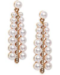 Kenneth Jay Lane Goldtone Faux Pearl & Crystal Drop Earrings - Multicolor