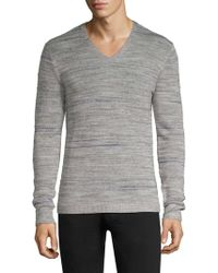 John Varvatos - Intarsia Tuck Stitch V-neck Sweater - Lyst