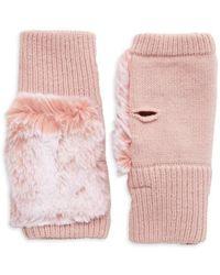 Jocelyn Texty Faux Fur & Knit Fingerless Gloves - Pink