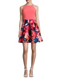 Adrianna Papell - Floral-print Pleated Halter Dress - Lyst