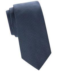 BOSS by Hugo Boss Men's Embroidered Dot Silk Tie - Navy - Blue
