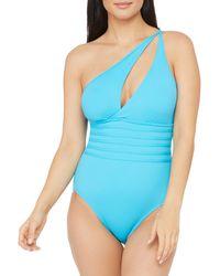 La Blanca Island Goddess One-shoulder One-piece Swimsuit - Blue