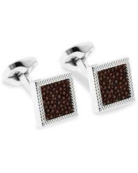 Ermenegildo Zegna Square Silvertone & Leather Cufflinks - Multicolor