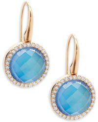 Roberto Coin - Diamond, Topaz And 18k Rose Gold Fantasia Drop Earrings - Lyst