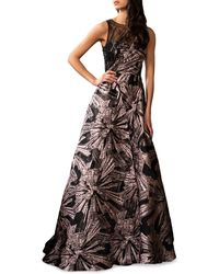 THEIA Beaded Brocade Gown - Multicolour