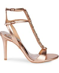 Badgley Mischka Hollow Embellished Metallic High-heel Sandals - White