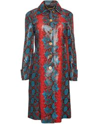 Versace Embossed Snakeskin Leather Trench Coat - Blue