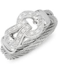Alor - 18k White Gold, Stainless Steel & Diamond Ring - Lyst